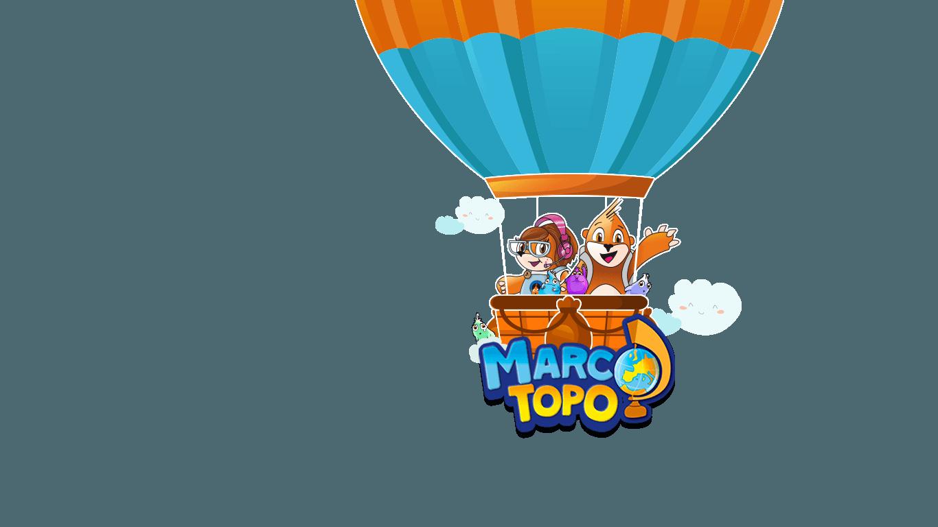 Globo con Marco Topo y Marta Topo, divertidos personajes del juego marco topo, un juego de aventuras interactivas para jugar en familia con niños y descubrir sitios de una manera divertida.