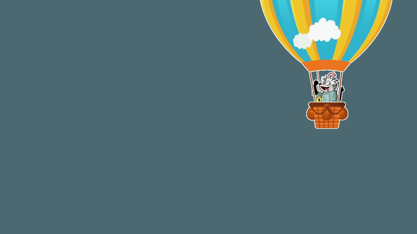 Globo con el malvado doctor Topo Loco, el enemigo de Marco Topo, un divertido personaje del juego marco topo, un juego de aventuras interactivas para jugar en familia con niños y descubrir sitios de una manera divertida.