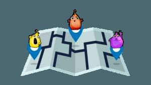 flopis sobre mapa de marco topo, un juego de turismo familiar con niños