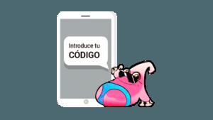 móvil con código para poder jugar a marco topo, un juego de turismo familiar con niños